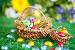 Colorful easter nests Royalty Free Stock Image