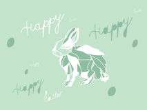 Colorful Easter postcard with rabbit hare. Green Easter postcard with rabbit hare, eggs and hand written text available in  format Stock Photography