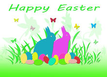 Colorful Easter Rabbit with Eggs and Butterflies Stock Images