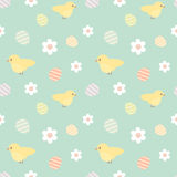 Colorful easter seamless pattern background illustration with cute little yellow birds and eggs Royalty Free Stock Image