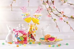 Colorful easter sweets stock images