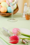 Easter Table Setting With Pink Tulips Stock Photos