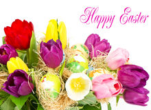 Colorful easter tulip flowers bouquet Stock Images