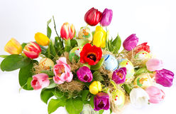 Colorful easter tulip flowers bouquet Royalty Free Stock Image