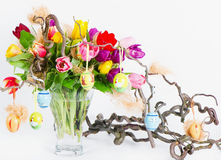 Colorful easter tulips bouquet Royalty Free Stock Images