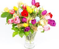 Colorful easter tulips bouquet Stock Image