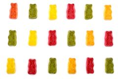 Colorful eat gummy bears jelly candy Isolated on white background. Top view. Flat lay Stock Photography