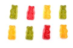 Colorful eat gummy bears jelly candy Isolated on white background. Top view. Flat lay Stock Photo