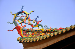 Colorful eave in Chinese traditional temple. Beautiful and featured decoration eave in Chinese traditional temple, shown as special architecture style and Royalty Free Stock Photography