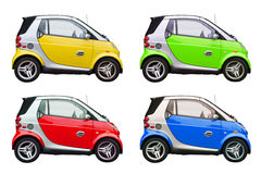 Colorful eco friendly smart cars isolated. Colorful eco environmentally friendly smart cars isolated on a white background Stock Photo