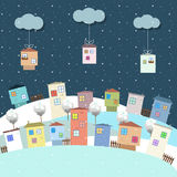 Colorful Eco Houses For Sale, Real Estate, Christmas Gifts. Funny Houses For Sale, Real Estate Concept, Christmas Gifts Royalty Free Illustration