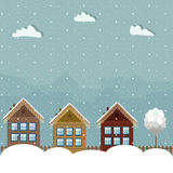 Colorful Eco Houses, Winter Theme. Colorful Eco Houses With Lights And Snow, Winter Theme royalty free illustration