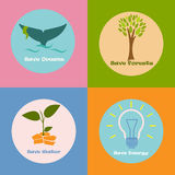 Colorful eco poster with different conceptions of saving water, energy, oceans and forests. Can be used for world environment day or earth day Stock Images