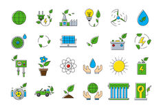Colorful eco vector icons set. Set of 24 Colorful eco vector icons Royalty Free Stock Photo