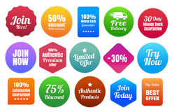 15 Colorful Ecommerce Badges. Join Here, 50 percent discount, 100 percent money back, free delivery, limited offer, 30 day guarantee, best offer and other badges Royalty Free Stock Photography