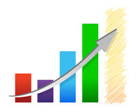 Colorful economic recovery graph illustration Stock Photography
