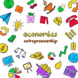 Colorful Economics Infographic Concept. With financial and business management icons in hand drawn style  vector illustration Royalty Free Stock Photography