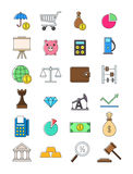 Colorful economy icons set. Set of 25 colorful economy icons Stock Images