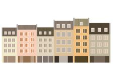 Vector illustration of six apartment buildings in front view Stock Photos
