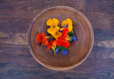 Colorful edible flowers in clay bowl Stock Images