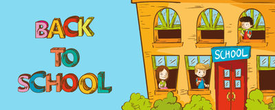 Colorful education back to school cartoon. Stock Images