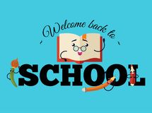 Welcome back to school poster, Colorful education template with funny book in glasses paint brushes pencil and marker. Colorful education template with funny stock illustration