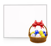 Colorful egg basket with whiteboard. 3d eggs basket with board Royalty Free Stock Photos