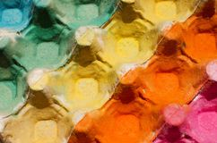 Colorful egg cardboard carton painted Royalty Free Stock Images