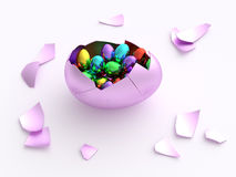 Colorful egg crack opened with eggs. Isolated pink eggshell cracked and hatched full of smaller eggs with different colors inside. Ready for Easter egg hunting Stock Photos