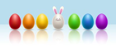 Colorful egg row with egg bunny for Easter. Colorful Easter egg row with white egg rabbit. Vector illustration for Easter celebration and horizontal banner Stock Image