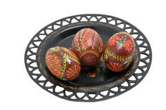 Colorful eggs. On ornament  plate for Christianity  holiday easter Royalty Free Stock Photo