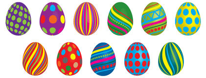 Colorful eggs. Collection of colorful easter eggs isolated on white Royalty Free Stock Image