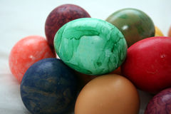 Colorful Eggs. Easter eggs in different colorful designs stock photos