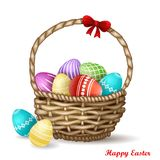 Colorful eggs in basket stock illustration