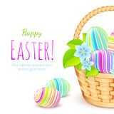 Colorful eggs in basket, greeting card template Royalty Free Stock Photos