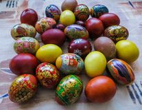 Colorful eggs, boiled and painted by hand, cooked for Easter stock photo