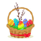 Colorful Eggs, Brench of Willow in Wicker Basket. Colorful eggs, brench of willow, green grass in wicker basket isolated on white. Vector illustration of brown Royalty Free Stock Images