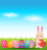 Colorful eggs and  bunny for Easter day greeting card Royalty Free Stock Photo
