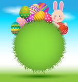 Colorful eggs and bunny for Easter greeting day card Stock Photo