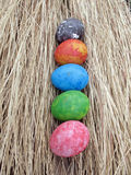 Colorful of eggs on dried grass background,easter Royalty Free Stock Images