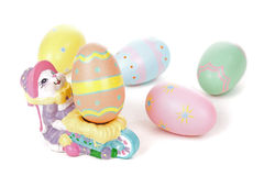 Colorful Eggs with Easter Bunny Figurine Royalty Free Stock Photography