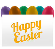 Colorful eggs easter. Colorful eggs and white paper banner easter text Stock Photography