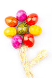 Colorful eggs flower. Flower out auf coloured eggs in front of white background Stock Photography