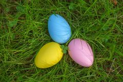 Colorful eggs on fresh springtime grass Stock Image