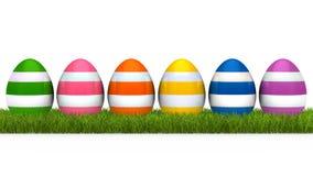 Colorful eggs grass Stock Photo