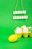 Colorful eggs and Happy Easter decoration Royalty Free Stock Photo