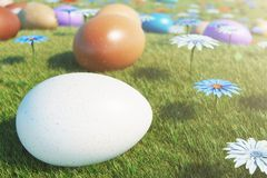 Colorful eggs in a meadow on a sunny day, with beautiful flowers. Multicolored painted easter eggs on grass, lawn royalty free illustration