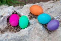 Colorful eggs on a rock Stock Images