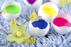 Colorful eggs shells for happy Easter decoration stock photos