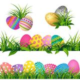 Colorful eggs and Spring green grass Borders Set for Easter day. Greeting card Stock Image